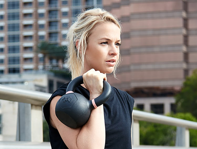 Loaded with kettlebell